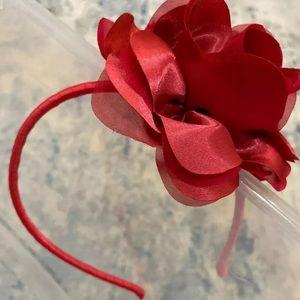 J crew rose flower ribbon headband new red silky